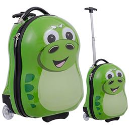 2 pcs Dinosaur Shaped Kids School Luggage Suitcase & Backpack