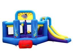 Bounceland Pop Star Inflatable Bounce House Bouncer, Large Bouncing Area With Long Slide, Climbing Wall, Basketball Hoop, Ul 1Hp Blower Included, 15 Ft X 13 Ft X 83 Ft H, Pop Star Kids Party Theme