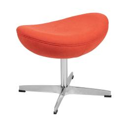 Offex Contemporary Living Room Orange Fabric Upholstered Saddle Wing Ottoman
