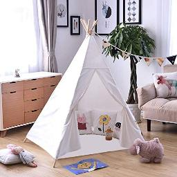 Outree Kids Teepee Tent Kids Play Tent For Boys & Girls Indooroutdoor With 5 Wooden Poles & Carry Bag, White Canvas