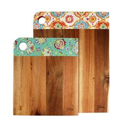 Fiesta 2 Piece Wood Patterned Cutting Board Set, Acacia