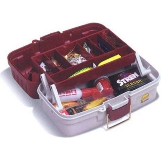 1 Tray Tackle Box w/Dual Top Access Red Met/Off White thumbnail