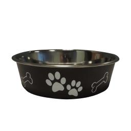 Paw and Bone Printed Feeding Bowl for Dogs and Puppies, Black and Gray