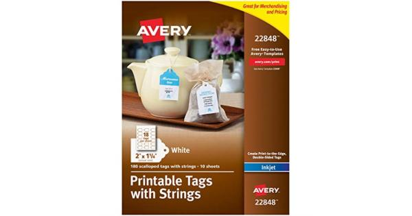 Avery Printable Tags for Inkjet Printers Only, Scalloped Tags With Strings, 2  x 1.25 , 180 Tags (22848) .The string tags are ideal for holiday gift tags, ID tags, favor tags, DIY holiday decor and more.Micro perforated edges ensure that the gift tags have a clean professional silhouette.Print the string tag with double-sided full-bleed backgrounds; Print-to-the-Edge technology allows you to go past the cutting edge.3. 5 inch strings are included already tied; just loop the strings through the prepuce holes for quick assembly.Create your own professional string tags for free at avery.com/templates.