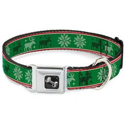 "Buckle-Down Seatbelt Buckle Dog Collar - Christmas Stitch Moose/Snowflakes Red/Green - 1.5"" Wide - Fits 16-23"" Neck - Medium"