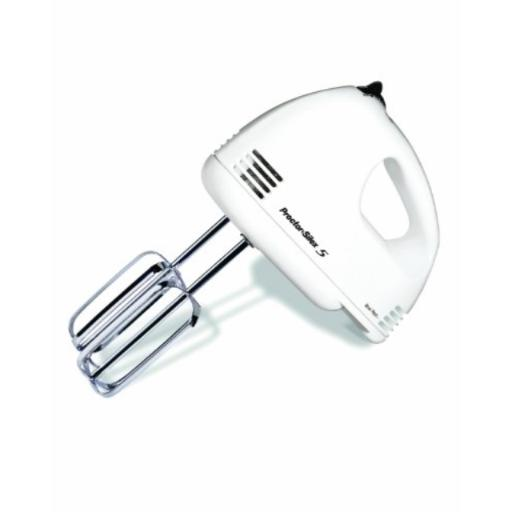 Proctor Silex 62515RY 5-Speed Easy Mix Hand Mixer, White Mix with ease: 5 speeds and powerful 125 watts save you valuable time in the kitchen.*Bowl rest feature: a built-in groove lets you rest The hand mixer over the bowl, so drips go where they belong and not all over your countertop.*Easy to clean: the kitchen mixer includes easy to clean Set of traditional beaters with beater eject switch.