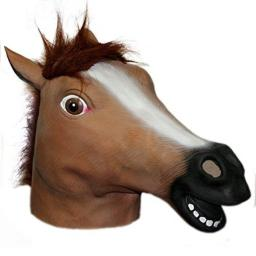 Hotportgift Horse Head Mask Creepy Halloween Costume Theater Prop Novelty (brown)