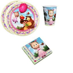 Masha Bear Birthday Party Supplies Set Plates Napkins Cups Kit for 12 (Strawberry mood)