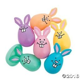Fun Express - Pastel Bunny Shaped Easter Eggs for Easter - Party Supplies - Containers & Boxes - Plastic Containers - Easter - 12 Pieces