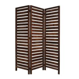 3 Panel Foldable Wooden Screen with Louver Pattern, Dark Brown