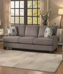 Fabric Wooden Transitional Sofa With Two Accent Pillows, Brown