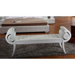 Leatherette Upholstered Button Tufted Wooden Bench with Rolled Arms, White