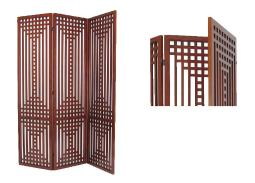 Wooden 3 Panel Room Divider with Patterned Open Cut Design, Brown