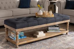 Baxton Studio Linda Modern and Rustic Charcoal Linen Fabric Upholstered and Greywashed Wood Storage Bench