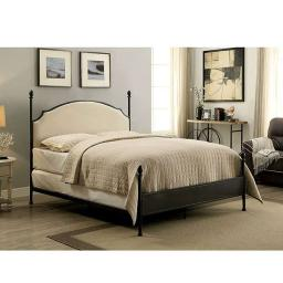 Metal Eastern King Bed with Padded Fabric, Black