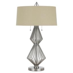 Geometric Body Metal Table Lamp with Fabric Drum Shade, Silver and Beige
