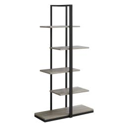 """Offex 60""""H Contemporary Home Office High Bookcase with Zig-Zag Design - Dark Taupe, Black"""