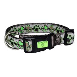 """Hamilton 1"""" x 18-26"""" Adjustable Dog Collar with Neon Paws Patterned Ribbon Overlay, Large, Green"""
