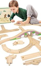 Wooden Bulk Track, 42 Pieces - Play Train Set Booster Pack with Red Brick Bridge - Railway Expansion Accessories Compatible with Major Toy Trains - Hobbies, Games, and Table Activities for Kids