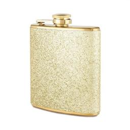 Blush Sparkletini Stainless Steel, Glitter Flask, Gifts for Women, Hidden Alcohol Barware, 6 oz, Gold