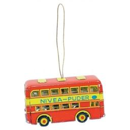"Alexander Taron AT4 Collectible Tin Ornament - Doubledecker Bus - 1.5"" H x 2"" W x 3"" D, Red"