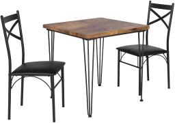 VECELO Industrial Style Dining Table Set, 2 Chairs with Metal Legs for Breakfast Nook, Kitchen Room-2 Placemats Included, Black