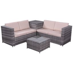 4 pcs Rattan Wicker Furniture Set with Storage Box