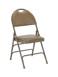 Offex Extra Large Ultra-Premium Triple Braced Beige Vinyl Metal Folding Chair with Easy-Carry Handle