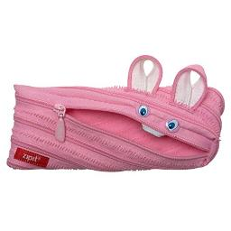 ZIPIT Animals Pencil Case for Kids, Holds Up to 30 Pens, Machine Washable, Made of One Long Zipper! (Bunny)