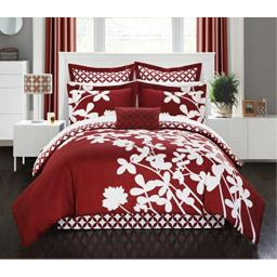 Chic Home 11 Piece Iris Reversible Large Scale Floral Design Printed with Diamond Pattern Reverse Queen Comforter Set Red with Sheet Set