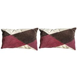 CHANEL Collection Suede Cushion Cover in Geometric Patterned Browns and Fushia Set of Two
