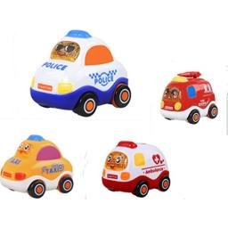FanBell Push and Go Friction Powered Car Toys Set Mini Powered Play Vehicles for Baby Toddlers Set of 4