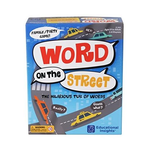 Educational Insights Word on the Street Easy-to-learn and fun-to-play word game helps to develop vocabulary skills, creative thinking skills, and encourages teamwork*Includes game board, 17 letter tiles, 216 category cards (432 categories), card holder, 30-second sand timer, game guide*Place all letters in the center of the board. Flip the timer-that player has 30 secondsto come up with an answer-in the category!*Player moves the tiles found in the answer 1 space at a time toward their side of the street. The first player or team to claim 8 letter tiles wins!*Perfect for 2 players or teams!