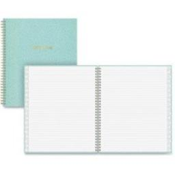 """Blue Sky Pebble Beach Notebook - 80 Sheets - Twin Wirebound - 8"""" x 10"""" - Aqua Cover - Recycled - 1Each"""