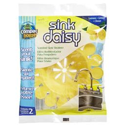 Compac'S Sink Daisy, Scented Kitchen Sink Strainer - infuses & Freshens Your Sink with Crisp, Clean, Exciting Scents, While Protecting Garbage Disposals & Drains, Lemon, 2Count