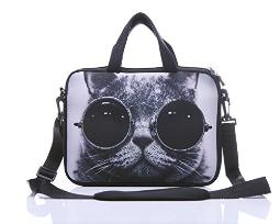11-Inch to 12-Inch Neoprene Laptop Sleeve Case Bag with shoulder strap For 11, 11.6, 12 Ultrabook/Acer/Asus/Dell/HP/Toshiba/Lenovo/Chromebook (Grey cat with sunglasses)