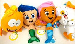 """Bubble Guppies Gil Molly and Bubble Puppy and Mr Grouper Medium Plush Doll Set 10"""""""