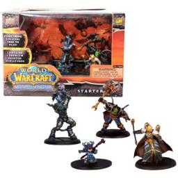 Blizzard Year 2008 World of Warcraft Miniatures Game Series Mini Figure Starter Set with Vindicator Hodoon (Draenai Paladin), Gorebelly (Orc Warrior), Ruby Gemsparkle (Gnome Mage) and Lotherin (Blood Elf Priest) Plus 4 Cards, 8 Action Bar, 6 Ten-Sided Dic
