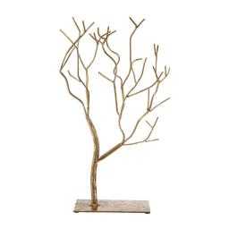 Leafless Branched Iron Tree Accent with Rectangular Base, Gold