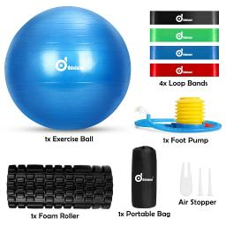 8-In-1 Exercise Ball Foam Roller Resistance Loop Bands Kit with Portable Bag, Anti Burst Yoga Ball and 4 Levels Loop Bands