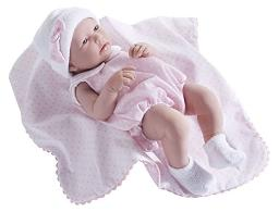 """JC Toys La Newborn - Realistic 17"""" Anatomically Correct """"REAL GIRL"""" Baby Doll - All Vinyl in Pink Bubble Suit and Blanket Designed by Berenguer Boutique - Made in Spain"""