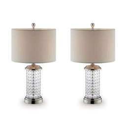 Drum Shade Table Lamp with Glass Pedestal Base, Clear and Silver, Set of 2