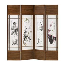 Asian Paintings 4 Panel Room Divider with Shoji Inserts, White and Brown