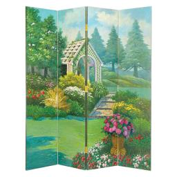 Wooden 4 Panel Room Divider with Gazebo, Multicolor