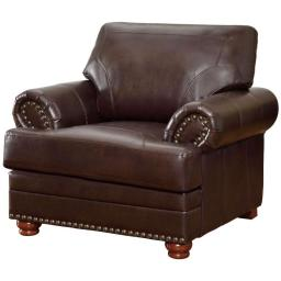 Traditional Wood & Bonded Leather Chair With Nailhead Trim, Brown