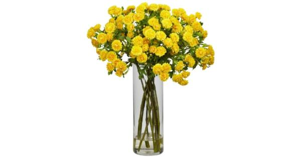 Nearly Natural 1216-YL Japanese Silk Flower Arrangement, Yellow Resembles freshly cut colorful flowers*Creates a stunning yet serene feel*Sure to brighten up anyone's day*Pot Size 3.5w x 10.5h