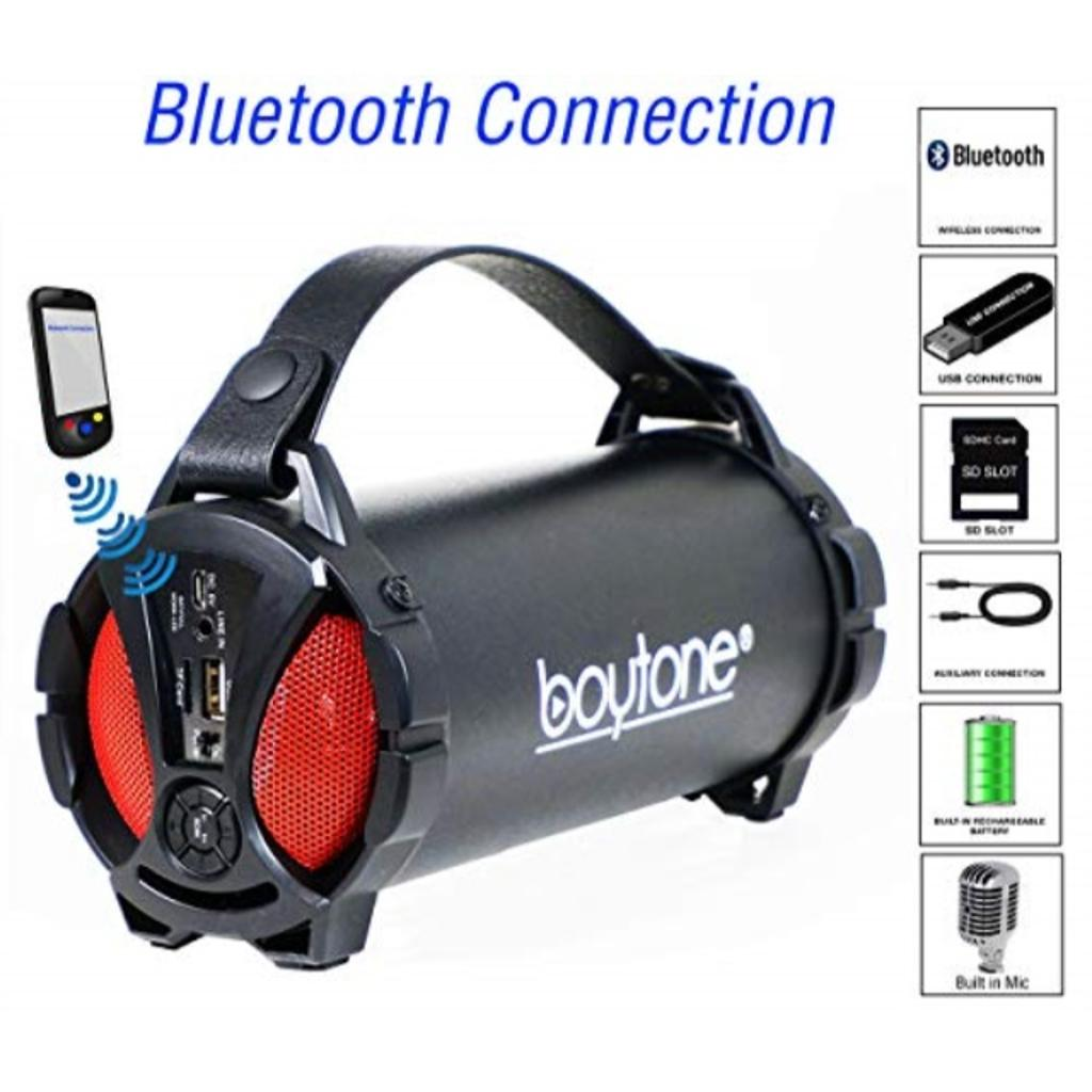 Boytone BT-38RD Portable Bluetooth Indoor/Outdoor Speaker 2.1 Hi-Fi Cylinder Loud Speaker with Built-in 2x3 Sub and SD Card, USB, USB Charger, AUX, FM Radio, Built in Rechargeable Battery