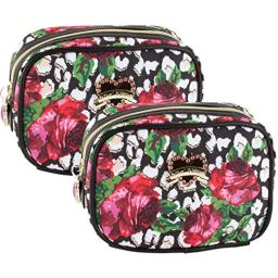 Betsey Johnson Roses Over Cheetah Cub Cosmetic Case - Multi 2 Pack