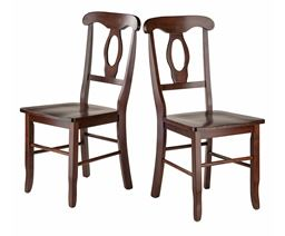 Winsome Renaissance 2 Piece Set Solid Wood Key Hole Back Chairs in Walnut Finish