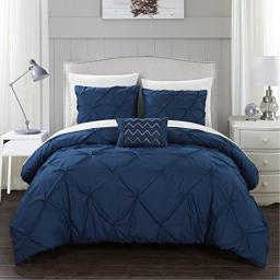 Chic Home Yvonne 4 Piece Duvet Cover Set Pinch Pleat Ruffled Design Embellished Zipper Closure Bedding - Decorative Pillow Shams Included, King Navy